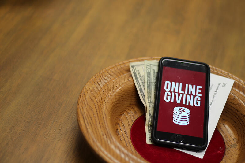 Online Giving on Phone Screen Within Offering Plate