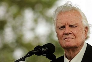 Billy Graham at Microphone