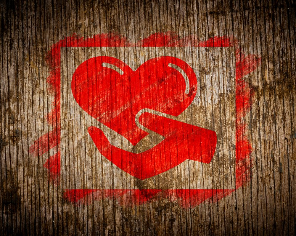 Fundraising-Ideas-for-Churches-Blog-Red Heart in Painted Square n Wood