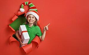 Church Year End Giving Image of Girl In Christmas Hat