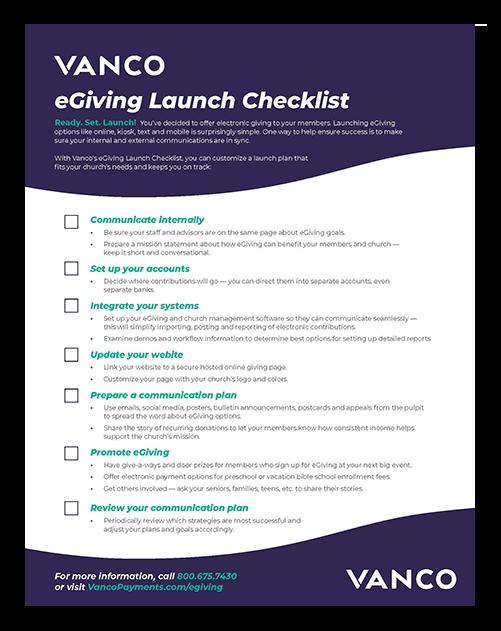 Church eGiving Launch Checklist Cover