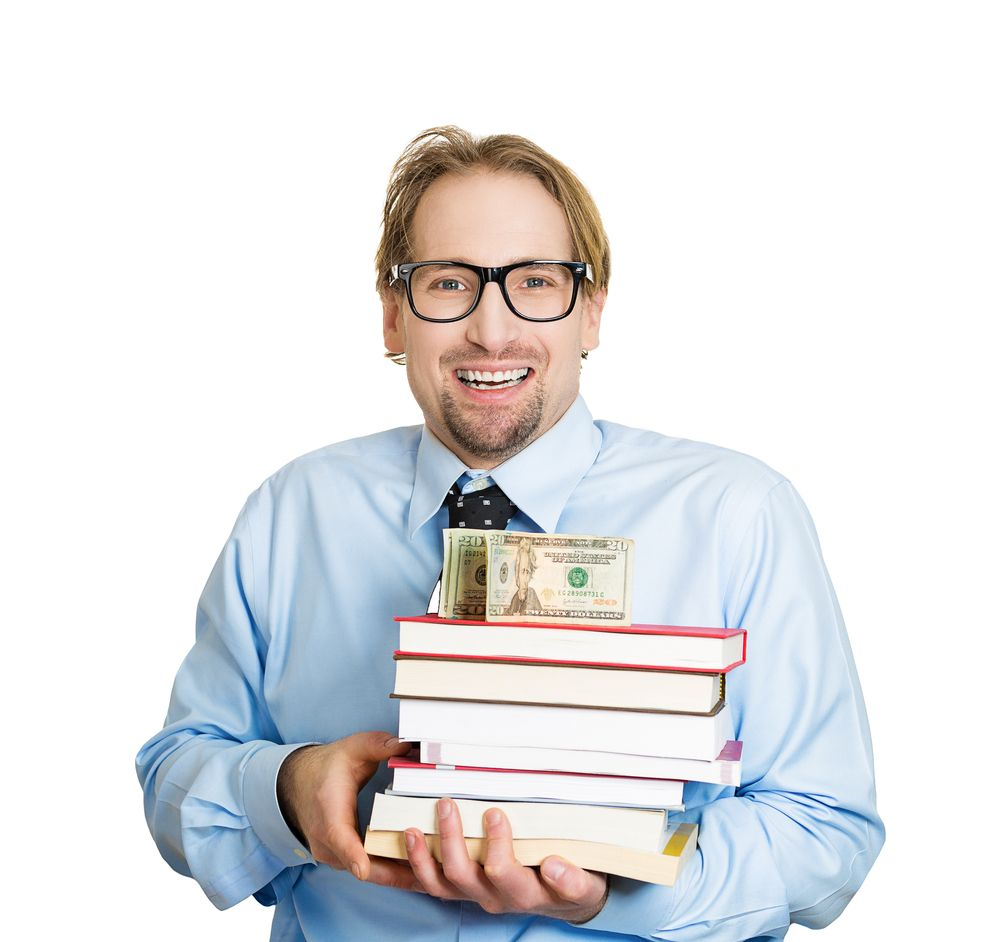 Man with Cash & Books - School Payment Fees