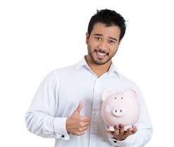 school finance management blog- educator with piggy bank