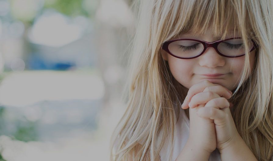 Little Girl with Glasses Praying