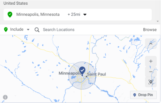 Church Facebook Ad Geo Location Screenshot